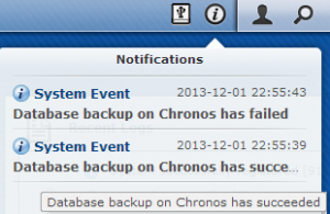 Database Backup Custom Notification