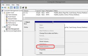 Computer Management: Delete Volume... dimmed