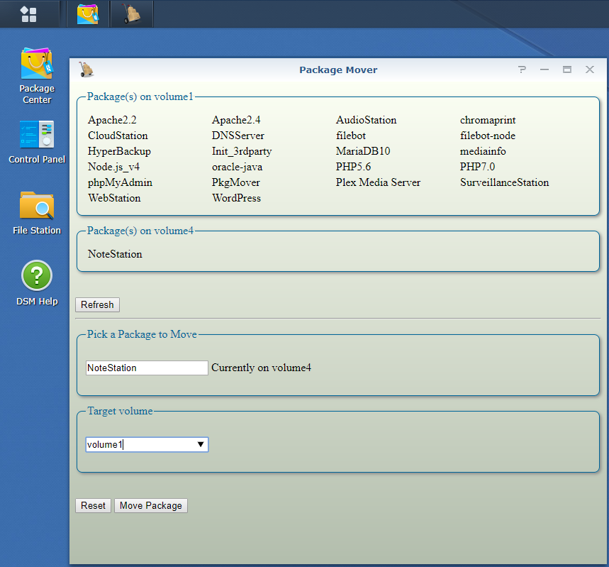 Move a Synology Package from a volume to another | Beatifica