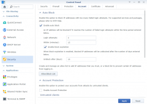 Control Panel Security Account